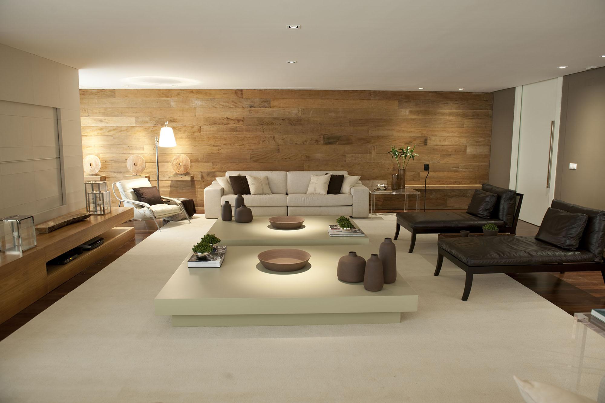 Sala De Tv Com Painel E Sofa ~ Debora Aguiar Arquitetos
